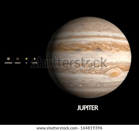 A rendered size comparison of the planet Jupiter and its four largest moons Ganymede, Callisto, Io and Europa on a clean black background with english captions. - stock photo
