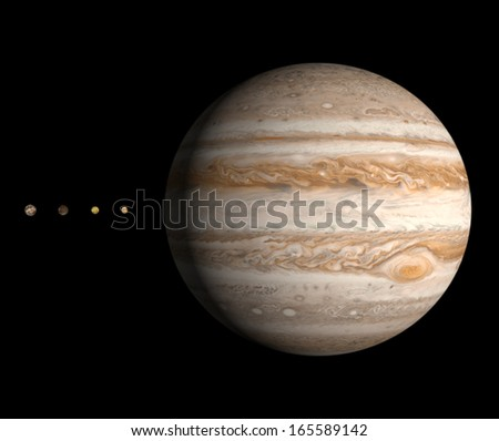 A rendered size comparison of the planet Jupiter and its four largest moons Ganymede, Callisto, Io and Europa on a clean black background. - stock photo