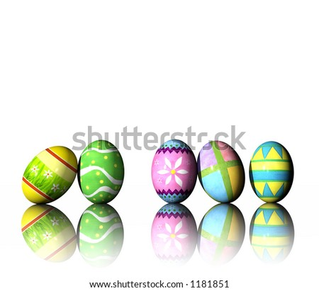 A rendering of colorful easter eggs