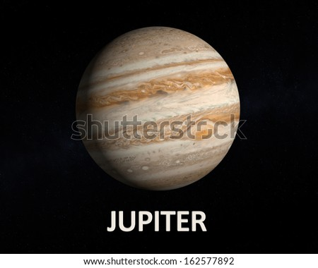 A rendering of the Gas Planet Jupiter on a slightly starry background with english caption. - stock photo
