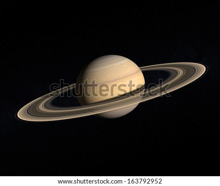 A rendering of the Gas Planet Saturn with its majestic ring system on a slightly starry background.
