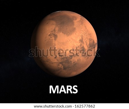 A rendering of the Planet Mars on a starry background with english caption. - stock photo