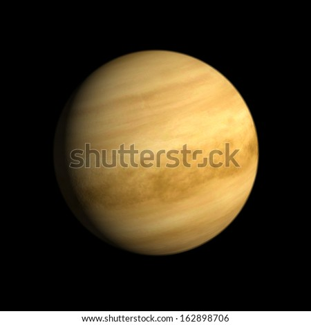 A rendering of the Planet Venus on a clean black background. - stock photo