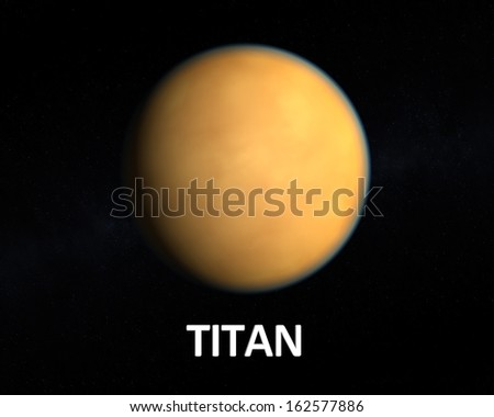 A rendering of the Saturn Moon Titan on a slightly starry background with english caption. - stock photo
