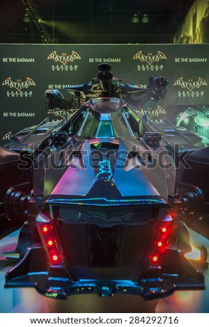 A replica of the Batmobile from the video game Arkham Knight on display at the E3, Electronic Entertainment Expo in Los Angeles, California, June 2014. - stock photo