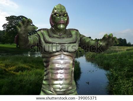 A reptilian monster - stock photo