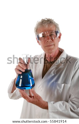 a research scientist holds a beaker of liquid          isolated on white - stock photo