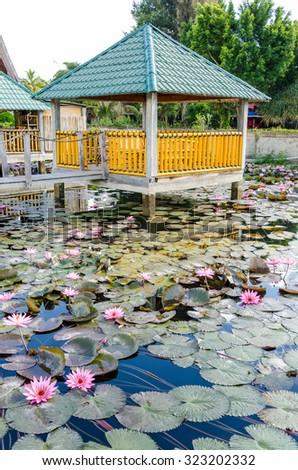 A resort on Samosir island in Lake Toba, Sumatra Indonesia - stock photo