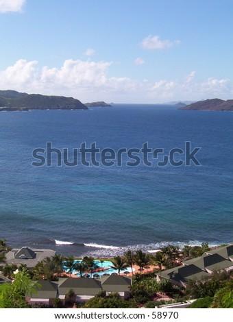 A Resort Overlooking the Ocean - stock photo