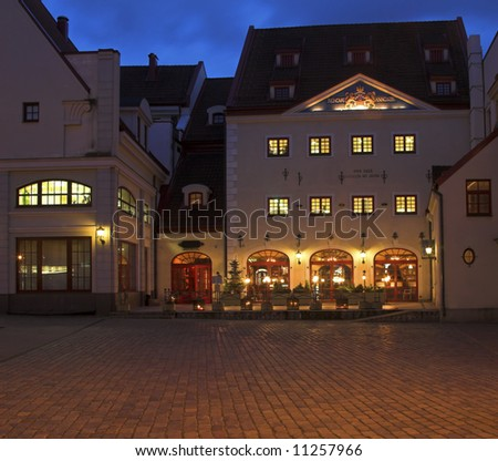 A Restaurant In The Old Square, Riga, Latvia - stock photo