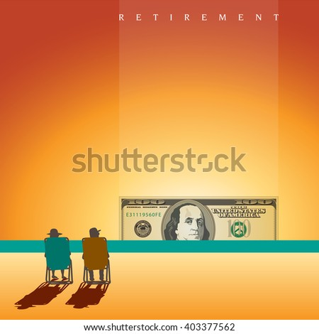 A retired couple on the beach with enough money and space for text  - stock photo