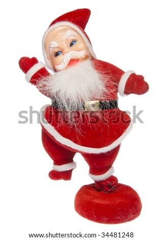 A retro decorative Santa figurine isolated on a white background with a clipping path.