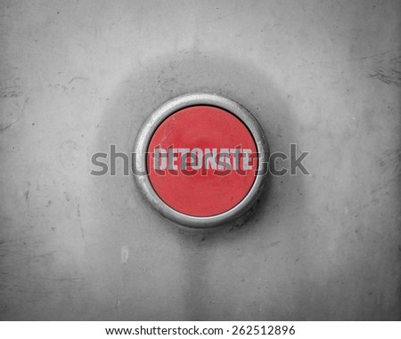 A Retro Filtered Image Of A Red Detonate Button - stock photo