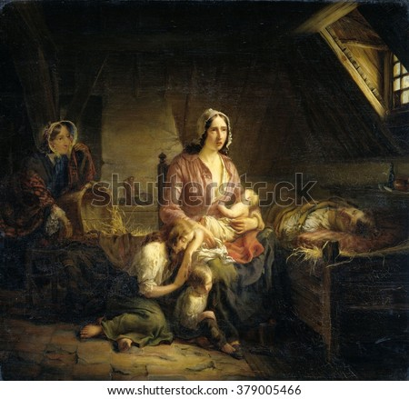 A Rich Lady Visits a Poor Family, by Gerardus Terlaak, 1853, Dutch, oil on canvas. A distressed young mother with three children at the bedside of her sick husband. At left, in back of the room, is a - stock photo