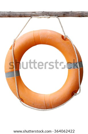 A ring-buoy, isolated on white background with clipping path - stock photo