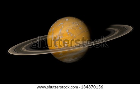 A ringed planet beyond our solar system. Isolated on black. Elements of this image furnished by NASA. - stock photo