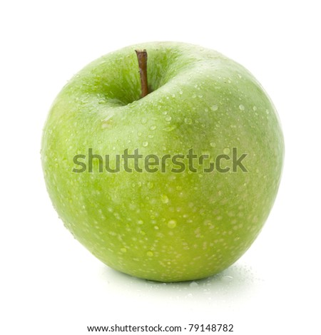 A ripe green apple with water drops. Isolated on white - stock photo