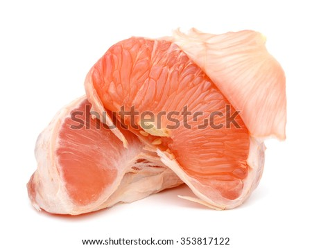 A ripe peel of grapefruit on white background