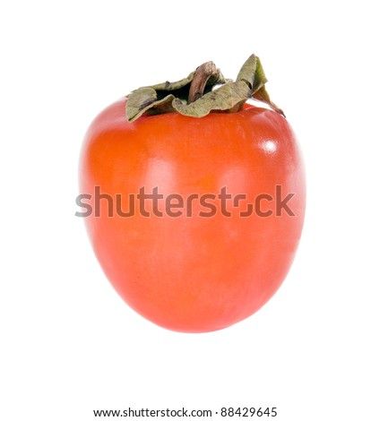 A ripe persimmon isolated on white background - stock photo