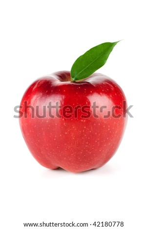 A Ripe Red Apple With Leaf isolated on white background