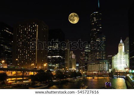A Rising moon over Chicago, Illinois
