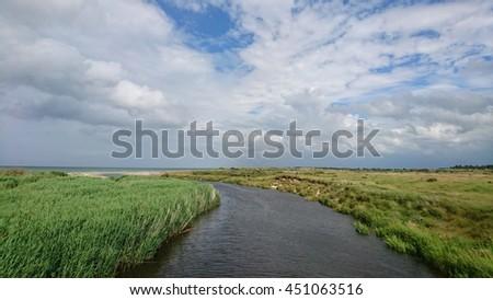 A river runs oyt in the sea in Danmark  - stock photo