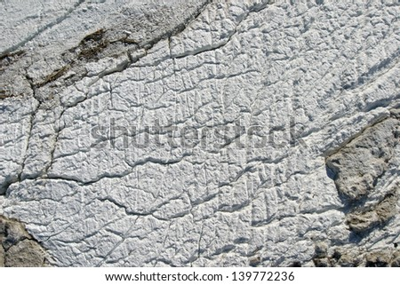 A river surface covered by ice - stock photo
