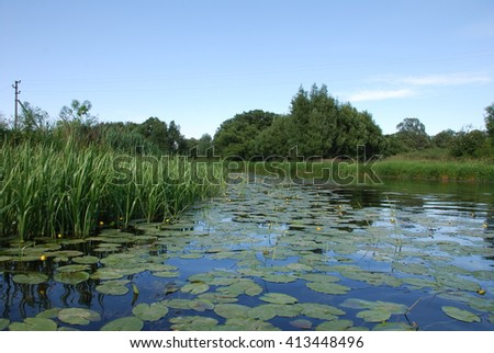 a river with water lilies - stock photo