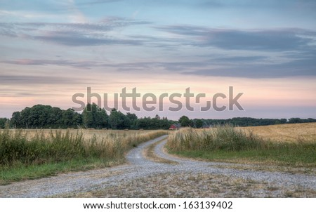 A road between two fields leads to a farm. The sun is setting and casting beautiful colors on the sky and clouds. - stock photo