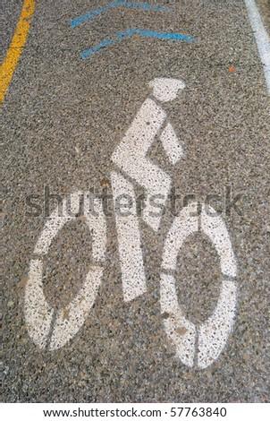 A road marking indicating bike lane. - stock photo