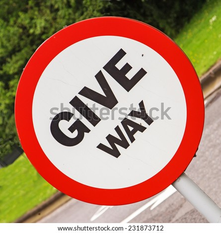 A road sign indicating drivers must 'Give Way', also useful as a concept  - stock photo