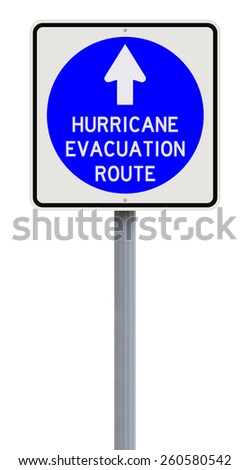 A road sign indicating Hurricane Evacuation Route  - stock photo