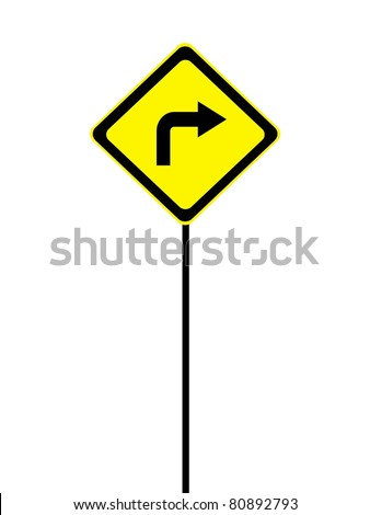 A road sign isolated against a white background - stock photo