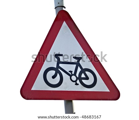 A road sign showing a cycle lane isolated on white
