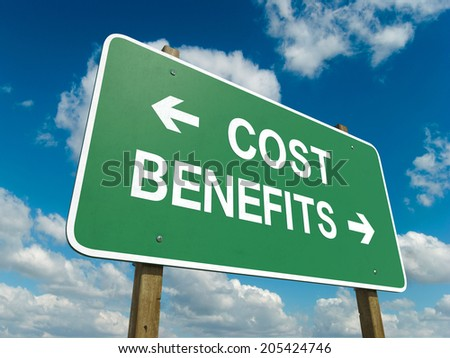 A road sign with cost benefits words on sky background  - stock photo