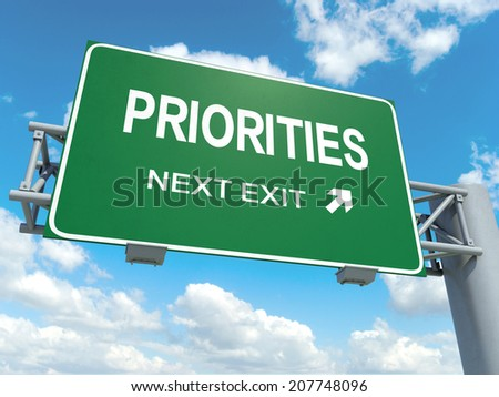 A road sign with priorities words on sky background  - stock photo