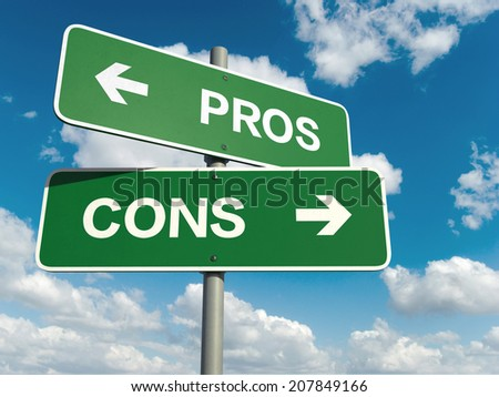 A road sign with pros cons words on sky background  - stock photo