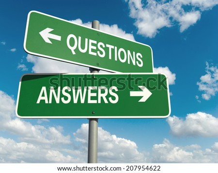 A road sign with questions answers words on sky background  - stock photo
