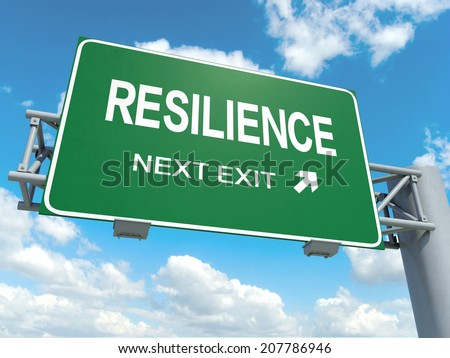 A road sign with resilience words on sky background  - stock photo