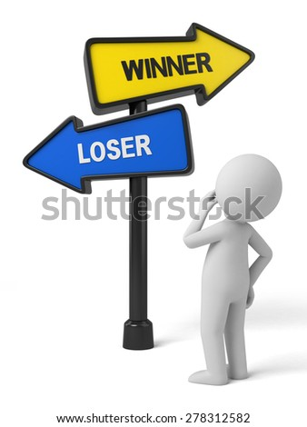 A road sign with winner loser words. 3d image. Isolated white background - stock photo