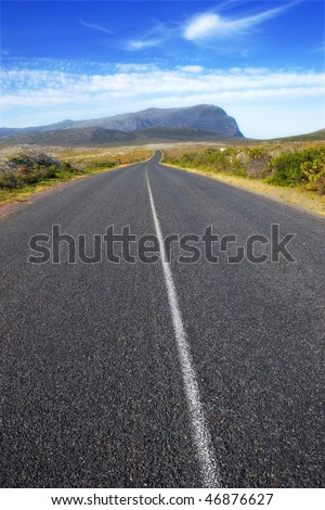 A road through South African wilderness - stock photo