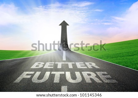 A road turning into an arrow rising upward symbolizing an improvement or a better future - stock photo