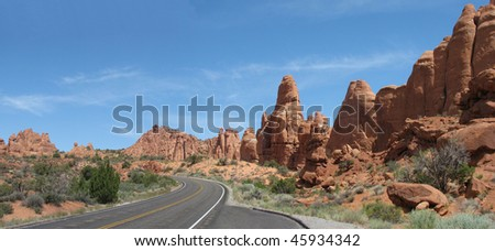 A road view in Arches National Park near Moab, Utah in America