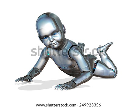 A robo-baby crawling - emerging new technology - 3d render. - stock photo