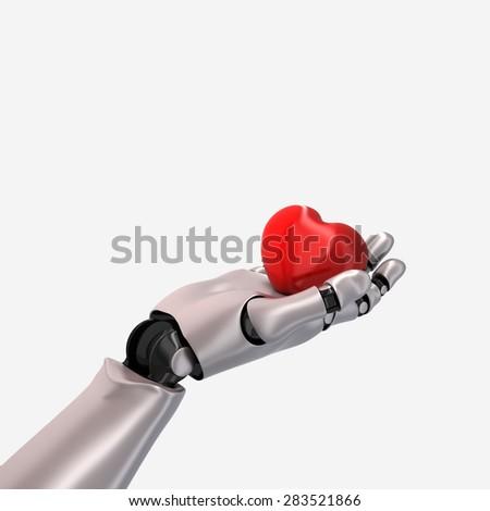 A robot hand holds a heart - 3D render. - stock photo