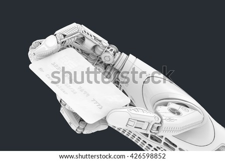 A robot holding generic credit card in hand. Electronic business finance concept. Debet Card plactic payment transaction options. 3d rendered image.