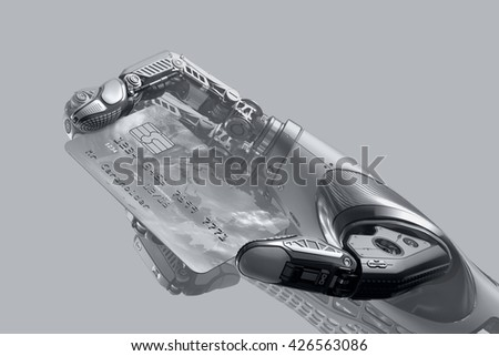 A robot holding generic credit card in hand. Electronic business finance concept. Debit Card plastic payment transaction options. 3d rendered image.