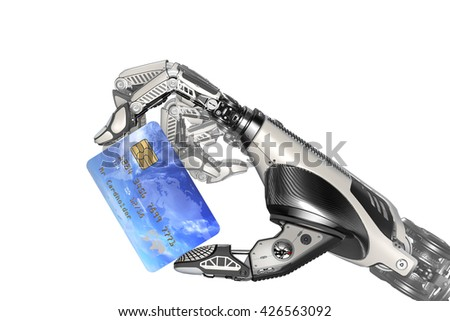 A robot holding generic credit card in hand. Electronic business finance concept. Debit Card plastic payment transaction options. 3d rendered image. - stock photo