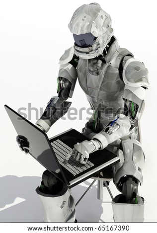 A robot with a computer on a white background