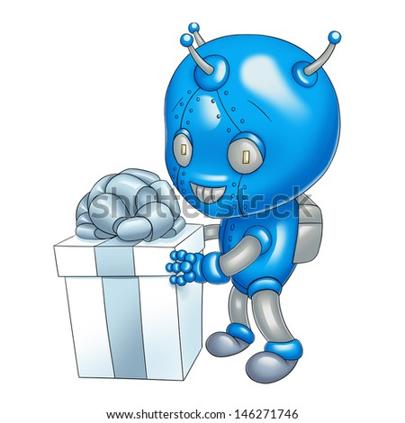 A robot with a present box
